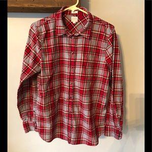 Women's J. Crew, boy fit button up shirt.